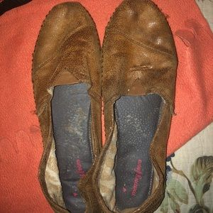 Brown Canvas Suede Bobs Slip On Shoes